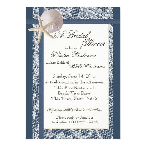 Wedding shower de bleu marine de thème d'océan invitations