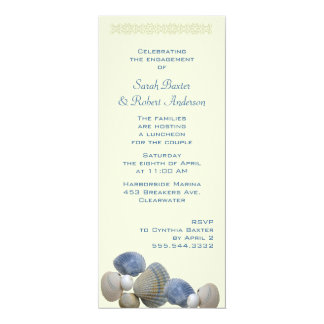 Wedding shower grand de coquillages bleus carton d'invitation  10,16 cm x 23,49 cm