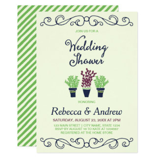 Wedding shower mis en pot vert de plantes carton d'invitation  12,7 cm x 17,78 cm