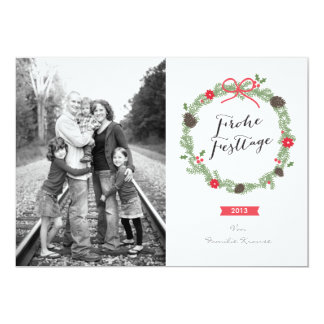Weihnachten Kranz Foto-Karte Carton D'invitation 12,7 Cm X 17,78 Cm