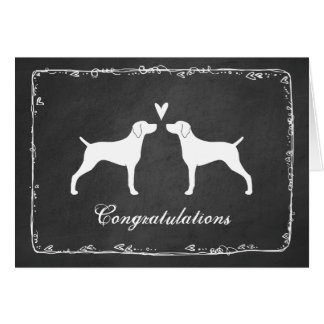 Weimaraner silhouette des félicitations de mariage carte de vœux