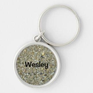 Wesley - porte - clé de coquillage porte-clé rond argenté