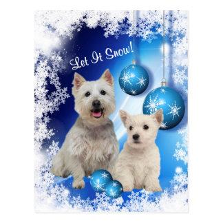 Westie l'a laissé neiger salutation de vacances carte postale