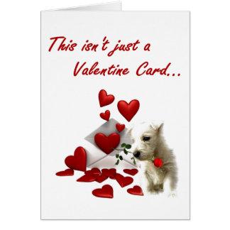 Westie rose et coeurs Valentine Carte De Vœux