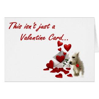Westie s'est levé avec les coeurs de flottement carte de vœux