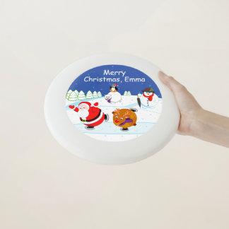 Wham-O Frisbee Scène de neige patinage du père noël et de Rudolph