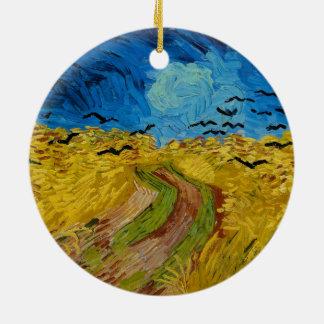 Wheatfield avec des corneilles par Vincent van Ornement Rond En Céramique
