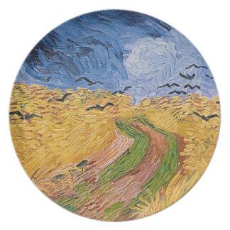 Wheatfield de Vincent van Gogh   avec des Assiettes En Mélamine