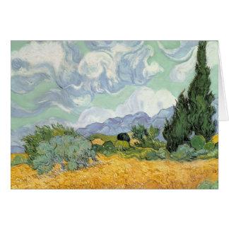 Wheatfield de Vincent van Gogh | avec des cyprès, Carte De Vœux