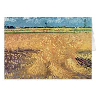 Wheatfield de Vincent van Gogh | avec des gerbes, Carte De Vœux