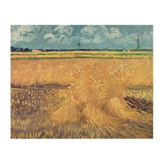 Wheatfield de Vincent van Gogh   avec des gerbes, Impression Sur Bois