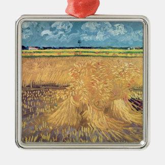 Wheatfield de Vincent van Gogh | avec des gerbes, Ornement Carré Argenté