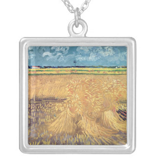 Wheatfield de Vincent van Gogh | avec des gerbes, Pendentif Carré