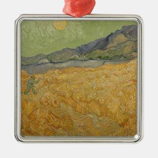 Wheatfield de Vincent van Gogh | avec Reaper, 1889 Ornement Carré Argenté