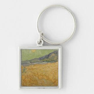 Wheatfield de Vincent van Gogh | avec Reaper, 1889 Porte-clé Carré Argenté