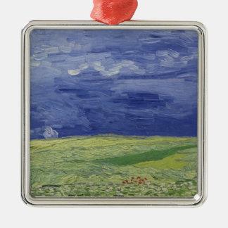 Wheatfields de Vincent van Gogh | sous le nuage Ornement Carré Argenté