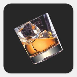 Whiskey sur les autocollants carrés de roches