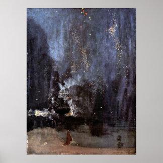 WHISTLER-NIGHT DANS LE NOIR et la TAILLE de GOLD-P Affiche