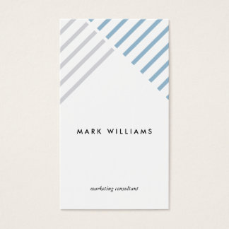 White blue assemblée modern simple minimal stripes cartes de visite