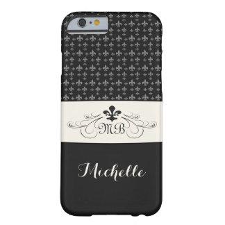 White Fleur de Lis noir élégant Coque Barely There iPhone 6