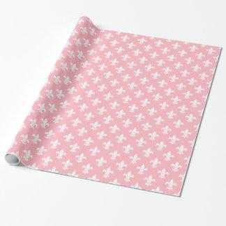 White Fleur de Lis Pattern rose Papier Cadeau