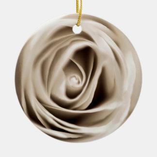 white rose ornement rond en céramique