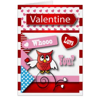 Whoo Luvs vous Saint-Valentin du hibou   Carte De Vœux