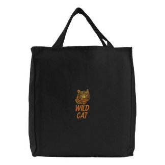 Wild Cat Tiger Embroidered Bag