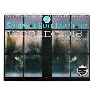Windows aux chats noirs du calendrier du monde