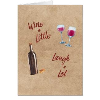 Wine une peu de carte vierge de citation de rire