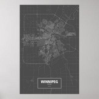 Winnipeg, Manitoba (blanc sur le noir) Posters