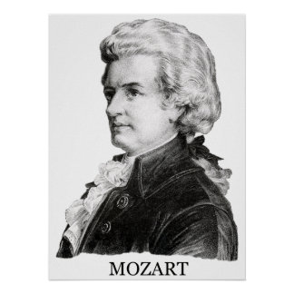 Wolfgang Amadeus Mozart, noir Poster