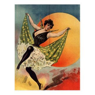 Woman dancing at cabaret carte postale