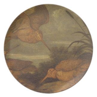 Woodcock au crépuscule, c.1676 (huile sur la toile assiette pour soirée