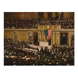 Woodrow Wilson demandant au congrès de déclarer la Carte Postale