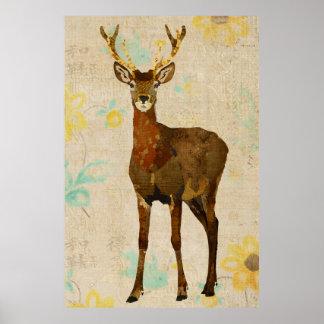 Woodsy Elk Floral Art Poster