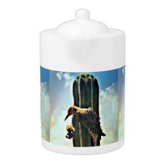 Woody sur le pot de thé de Saguaro