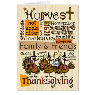 Wordcloud de thanksgiving carte de vœux