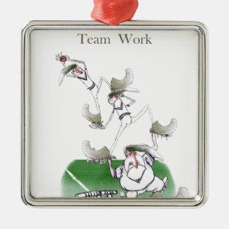 Work d'équipe de cricket de Yorkshire d'amour ' Ornement Carré Argenté