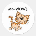 -WOW, Meow, le bon travail, wow ! Chat mignon de Autocollant Rond