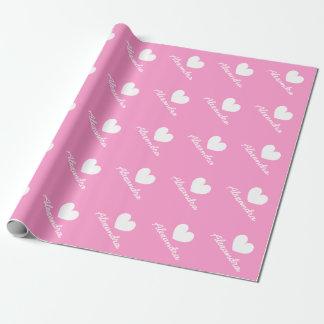 Wrappingpaper rose personnalisé de baby shower de papier cadeau noël