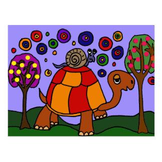 XX art populaire de tortue d'équitation d'escargot Carte Postale