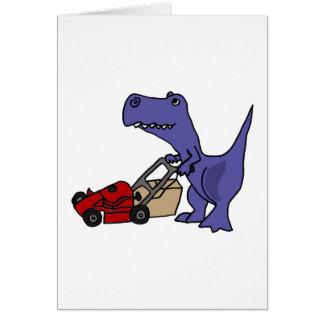 XX dinosaure de T-rex poussant la tondeuse à gazon Carte De Vœux