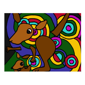 XX kangourou d'art abstrait Carte Postale