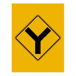 Y-symbole, panneau d'avertissement du trafic, carte postale