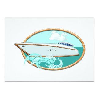 Yacht profilé en mer et ciel ovales invitation personnalisée