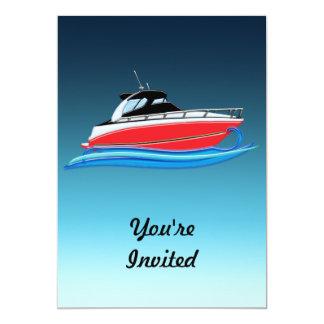 Yacht rouge lisse dans la vague bleue invitation personnalisable