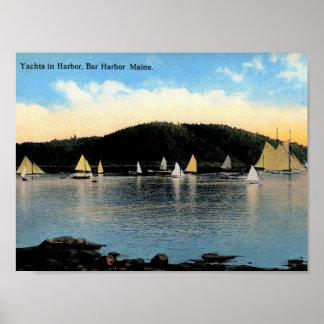 Yachts, port de barre, Maine, cru Poster