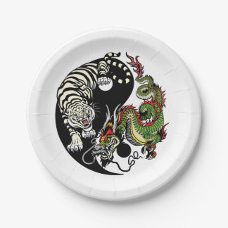yang de yin de dragon et de tigre assiettes en papier