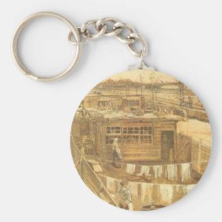Yard de charpentiers et blanchisserie, Van Gogh, Porte-clé Rond